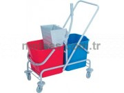 Rindo Temizlik Arabası Çift Kovalı (Boyalı Metal Gövde + Metal Pres)