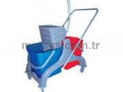 Rindo Çift Kovalı Temizlik Arabası (Plastik Gövde + Metal Pres)