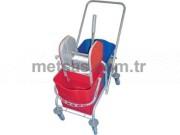 Rindo Temizlik Arabası Çift Kovalı (Boyalı Metal Gövde + Plastik Pres)