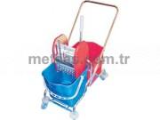 Rindo Lüx Temizlik Arabası Çift Kovalı (Krom Kaplama + Metal Pres)