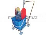 Rindo Tek Kovalı Lüx Temizlik Arabası (Krom Kaplama + Lüx Metal Pres)