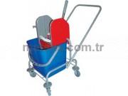 Rindo Tek Kovalı Temizlik Arabası (Boyalı Metal Gövde + Plastik Pres)